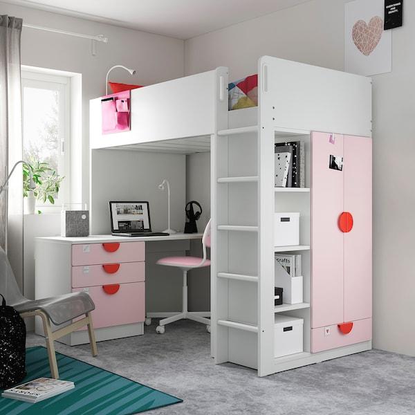 SMÅSTAD Cama alta, branco rosa claro/com secretária c/4 gavetas, 90x200 cm