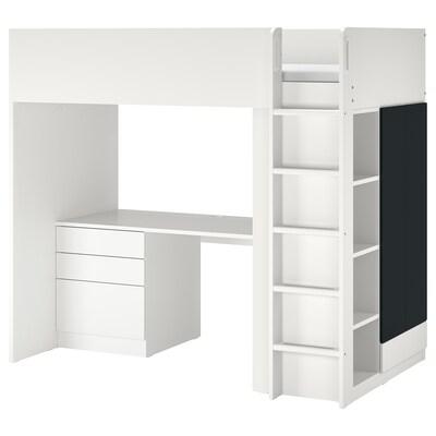 SMÅSTAD Cama alta, branco superfície ardósia/com secretária c/4 gavetas, 90x200 cm