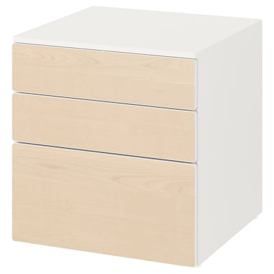 SMÅSTAD / PLATSA Cómoda c/3 gavetas, branco/bétula, 60x57x63 cm