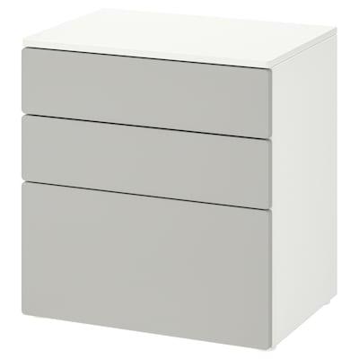 SMÅSTAD / PLATSA Cómoda c/3 gavetas, branco/cinz, 60x42x63 cm