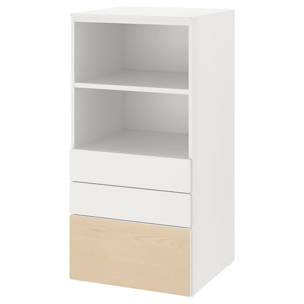 SMÅSTAD / PLATSA Estante, branco bétula/com 3 gavetas, 60x57x123 cm