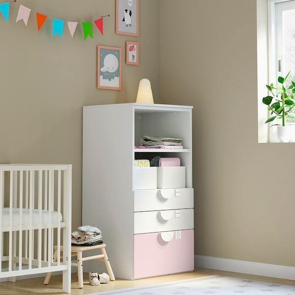 SMÅSTAD / PLATSA Estante, branco rosa claro/com 3 gavetas, 60x57x123 cm