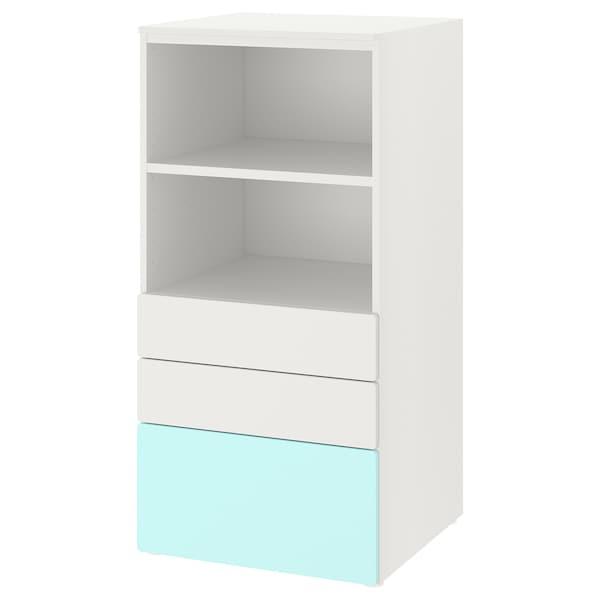SMÅSTAD / PLATSA Estante, branco turquesa claro/com 3 gavetas, 60x57x123 cm