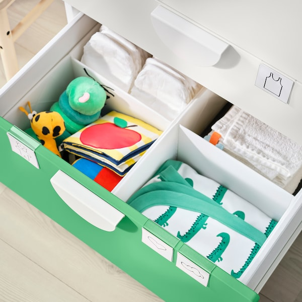 SMÅSTAD Trocador, branco verde/com 3 gavetas, 90x79x100 cm