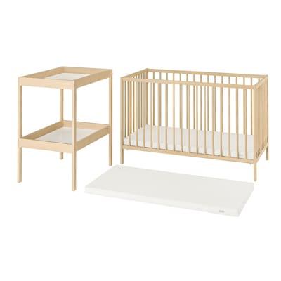 SNIGLAR Conj. móveis bebé, 3pçs, faia