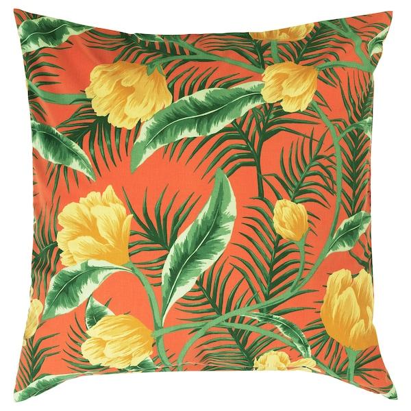 SOLBLEKT capa interior/exterior/padrão de flores laranja 65 cm 65 cm