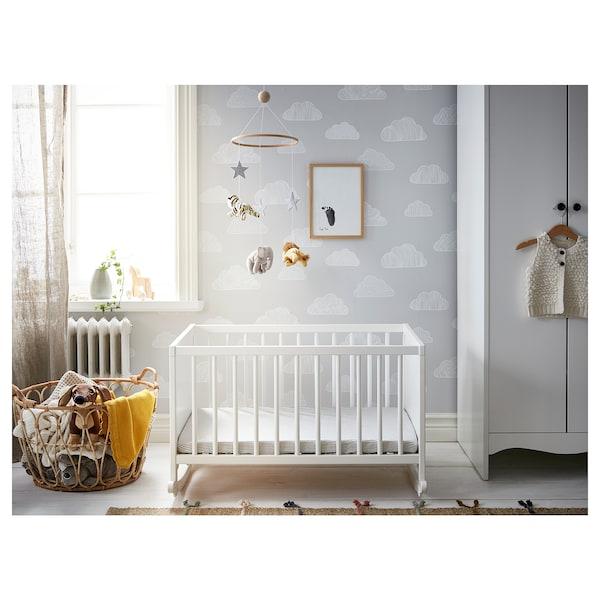 SOLGUL Berço c/colchão de espuma, branco, 66x84 cm