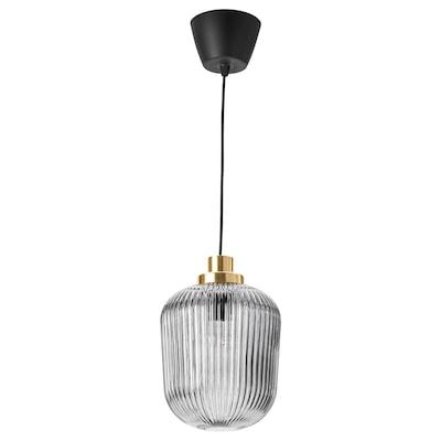 SOLKLINT Candeeiro suspenso, latão/vidro cinzento transparente, 22 cm
