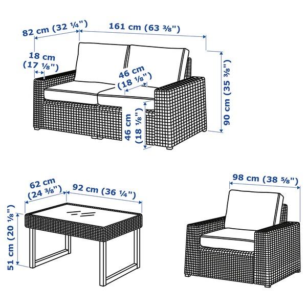 SOLLERÖN Conj 4 lugares, exterior, castanho/Järpön/Duvholmen antracite