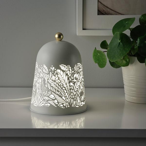 SOLSKUR Candeeiro LED de mesa, branco/bronze
