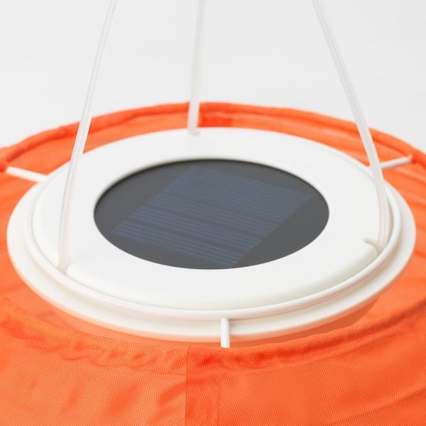 SOLVINDEN candeeiro suspenso LED, solar exterior/globo laranja 22 cm 19 cm 19 cm