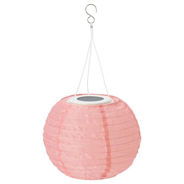 SOLVINDEN candeeiro suspenso LED, solar exterior/globo rosa 2 Lumen 22 cm 19 cm 19 cm
