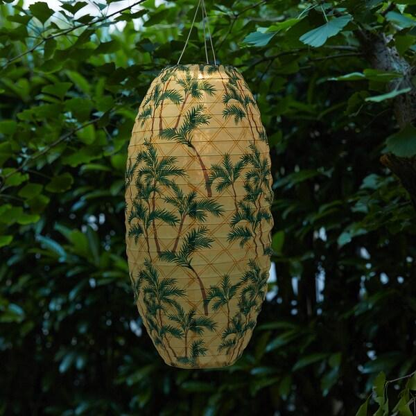 SOLVINDEN candeeiro suspenso LED, solar exterior/oval padrão palmeira 2 Lumen 30 cm 60 cm 60 cm