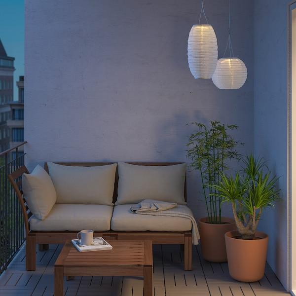 SOLVINDEN candeeiro suspenso LED, solar exterior/oval branco 3 Lumen 23 cm 43 cm 43 cm