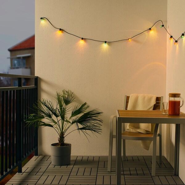 SOLVINDEN sistema iluminação LED 12 lâmpadas a pilhas/exterior multicor 1.5 m 30 cm 3.4 m 0.1 W 4.9 m