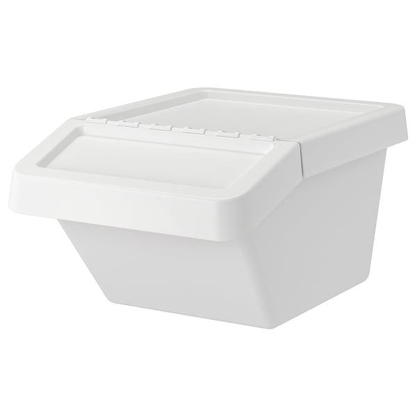 SORTERA Caixote c/tampa, branco, 37 l