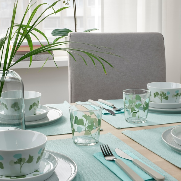 STILENLIG Copo, vidro transparente padrão em folha/verde, 30 cl