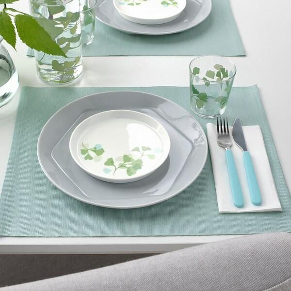 STILENLIG Prato de sobremesa, padrão em folha branco/verde, 17 cm
