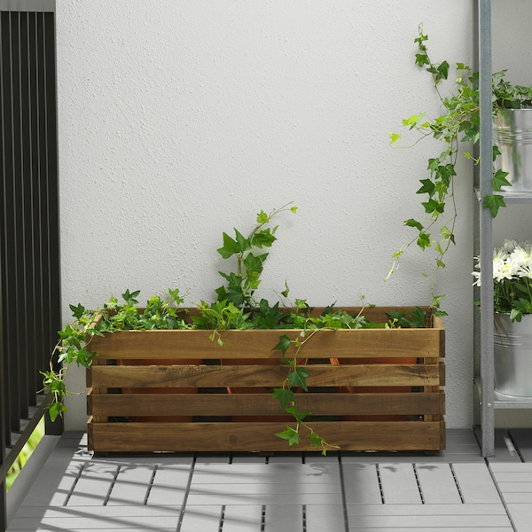 STJÄRNANIS floreira exterior acácia 75 cm 27 cm 27 cm