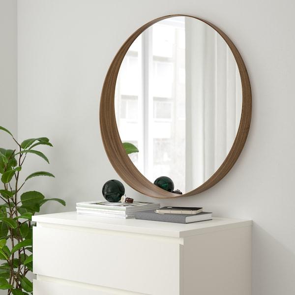 STOCKHOLM Espelho, chapa de nogueira, 80 cm