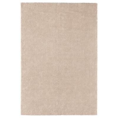 STOENSE Tapete pelo curto, branco-bege, 200x300 cm