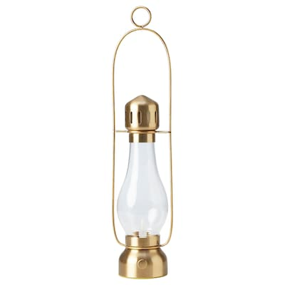 STRÅLA Lanterna LED, a pilhas/bronze