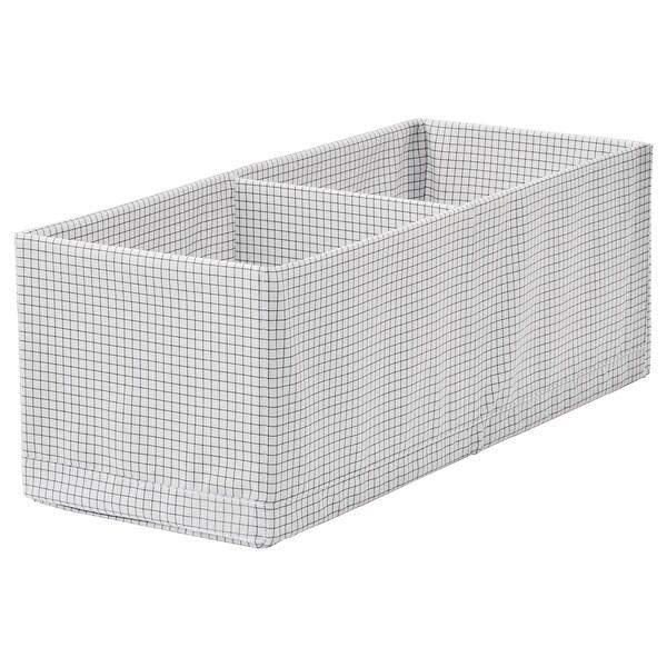 STUK caixa c/compartimentos branco/cinzento 20 cm 51 cm 18 cm