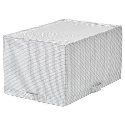STUK Caixa de arrumação, branco/cinzento, 34x51x28 cm