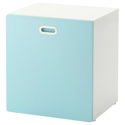 STUVA / FRITIDS Arrumação p/brinq c/rodíz, branco/azul claro, 60x50x64 cm