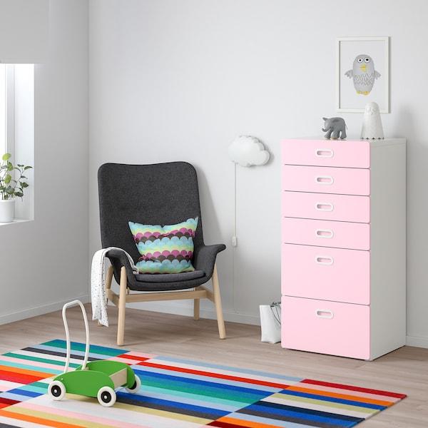 STUVA / FRITIDS cómoda c/6 gavetas branco/rosa claro 60 cm 50 cm 128 cm