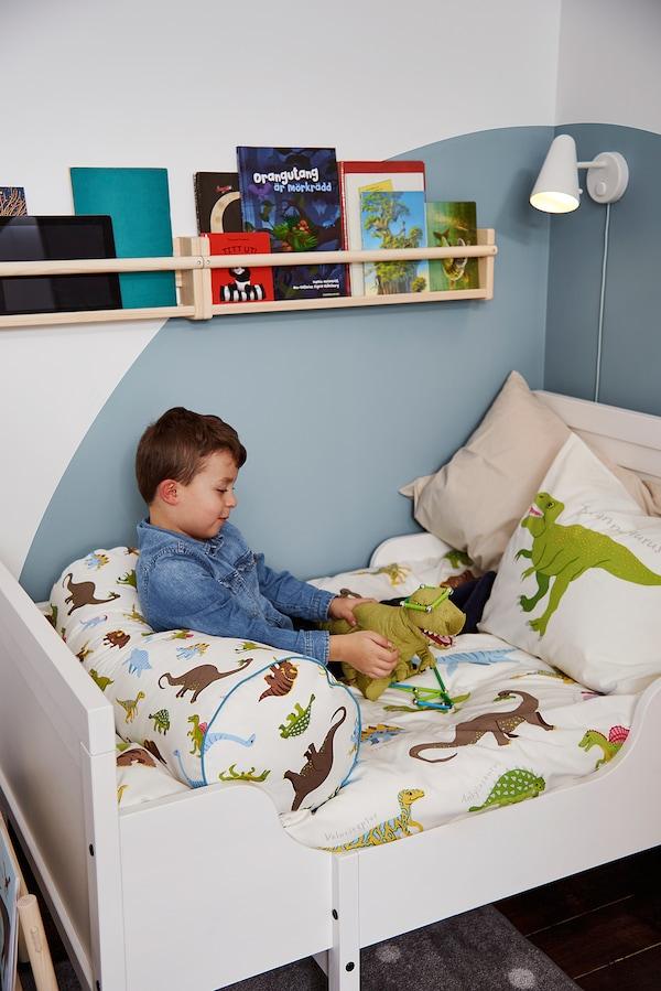 SUNDVIK Estrut cama ext c/estrado ripas, branco, 80x200 cm