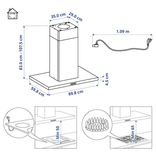 SVÄVANDE Exaustor de teto, aço inoxidável, 90 cm
