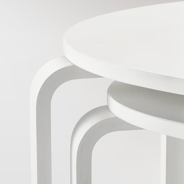 SVALSTA Mesas de encaixar, conj. 2, velatura branca