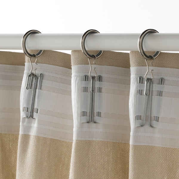 SYRLIG argola de cortinado c/clipe+gancho niquelado 25 mm 3 kg 10 unidades