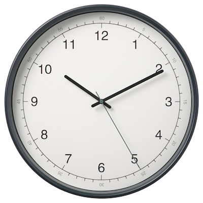 TAGGAD Relógio de parede, branco/cinzento, 38 cm