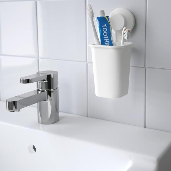 TISKEN Copo p/escova dentes c/ventosa, branco
