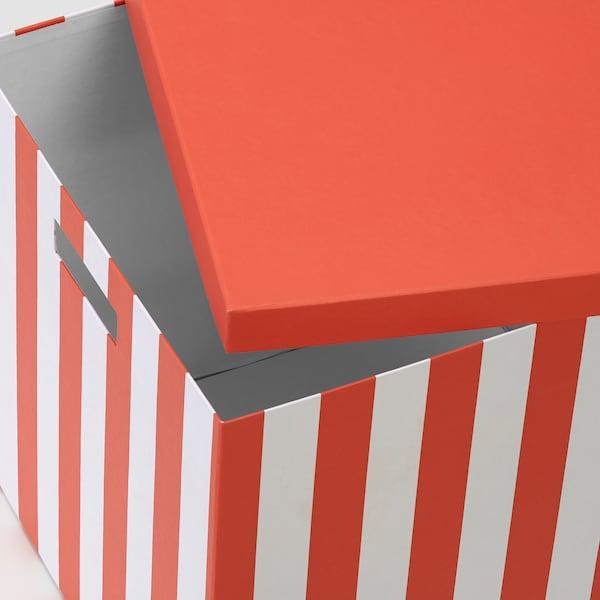 TJENA Caixa de arrumação c/tampa, laranja às riscas, 32x35x32 cm