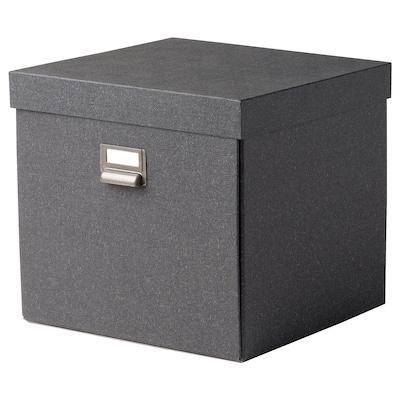 TJOG Caixa de arrumação c/tampa, cinz esc, 32x31x30 cm