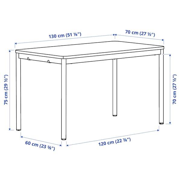 TOMMARYD Mesa, chapa de carvalho c/velatura branca/branco, 130x70 cm