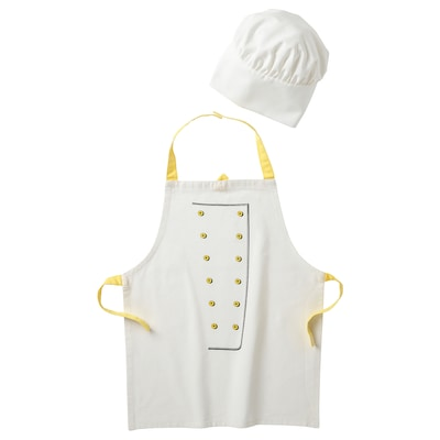 TOPPKLOCKA Avental+chapéu cozinheiro p/criança, branco/amarelo