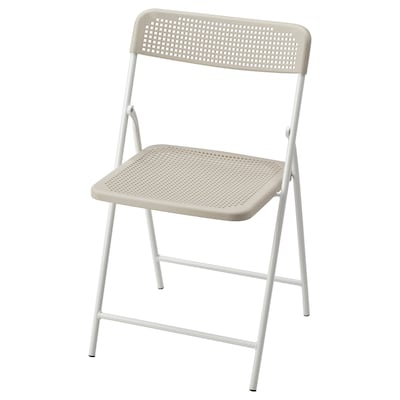 TORPARÖ Cadeira, interior/exterior, dobrável branco/bege