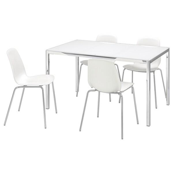 TORSBY / LEIFARNE Mesa e 4 cadeiras, vidro branco/branco, 135 cm
