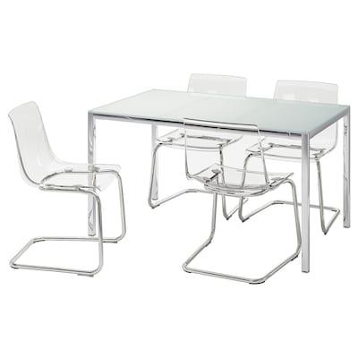 TORSBY / TOBIAS Mesa e 4 cadeiras, branco/transparente, 135 cm