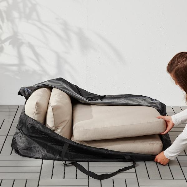 TOSTERÖ Saco arrumação p/almofadas, preto, 116x49 cm
