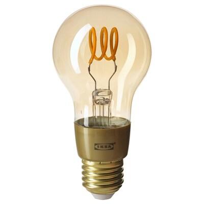 TRÅDFRI Lâmpada LED E27 250 lúmenes, ilum regulável s/fios luz quente/globo vidro transp castanho