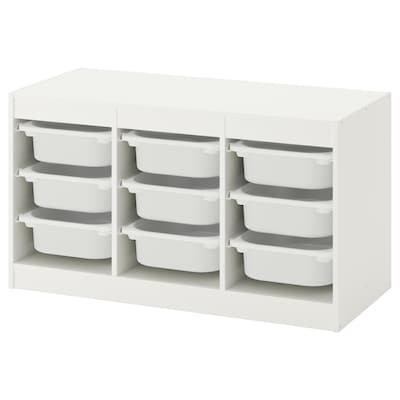 TROFAST Comb arrumação c/caixas, branco/branco, 99x44x56 cm