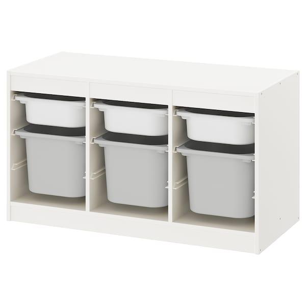 TROFAST Comb arrumação c/caixas, branco/cinz, 99x44x56 cm