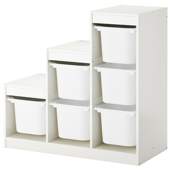 TROFAST Comb arrumação c/caixas, branco, 99x44x94 cm