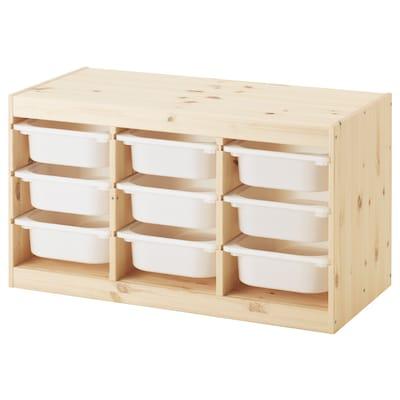 TROFAST Comb arrumação c/caixas, pinho c/velatura br cl/branco, 94x44x52 cm