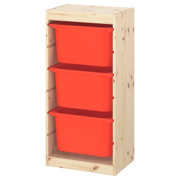 TROFAST Comb arrumação c/caixas, pinho c/velatura br cl/laranja, 44x30x91 cm